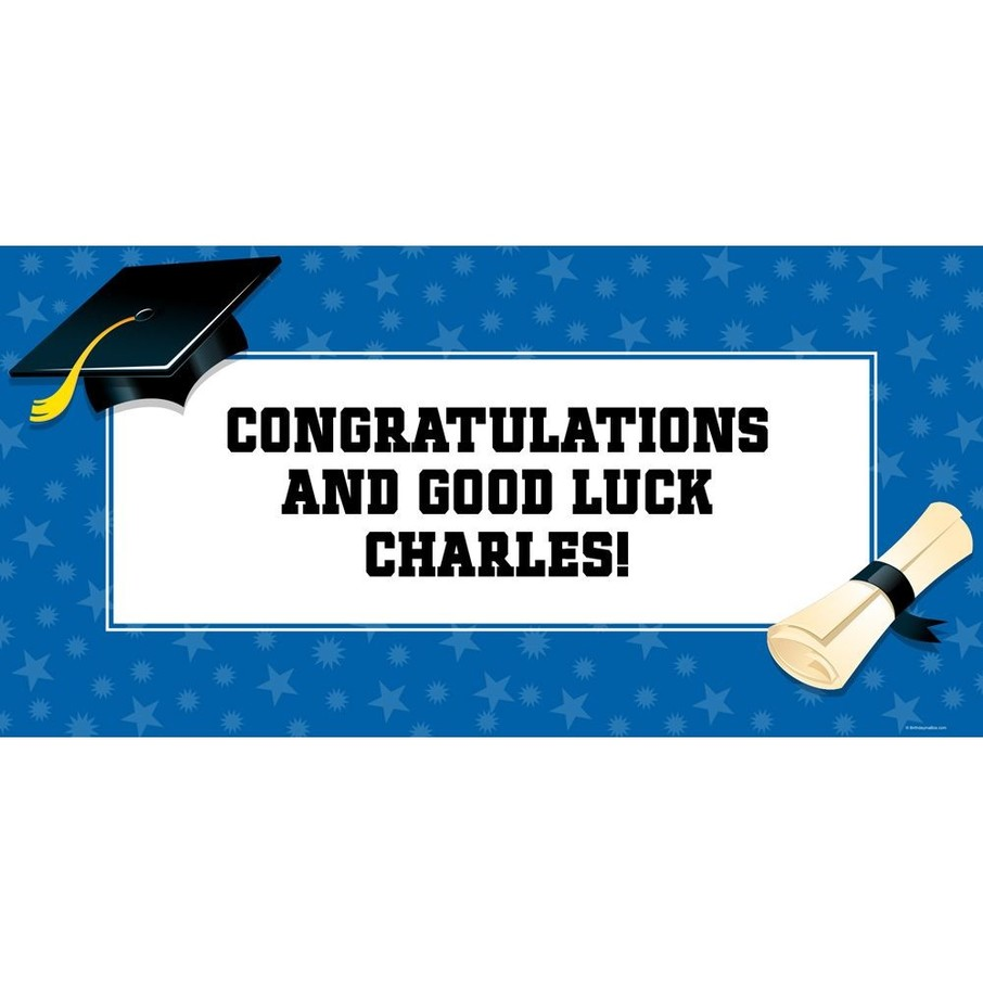 "View larger image of Blue Graduation Personalized Giant Banner 60x30"" (Each)"
