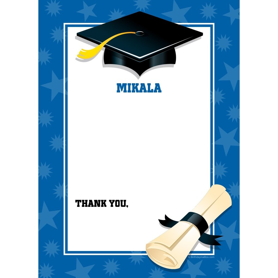 View larger image of Blue Graduation Personalized Thank You (Each)