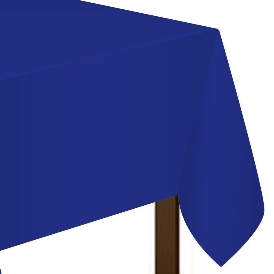 "View larger image of Blue Plastic Tablecover, 54""-108"""