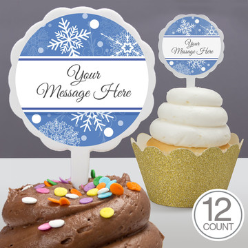 Blue Snowflake Personalized Cupcake Picks (12 Count)