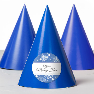 Blue Snowflake Personalized Party Hats (8 Count)