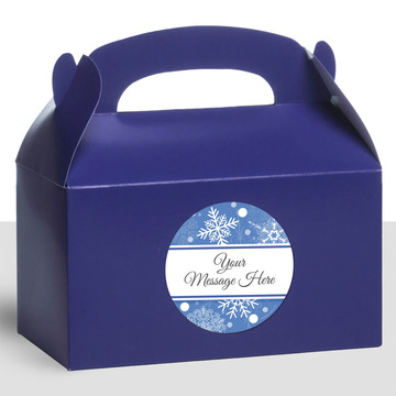 Blue Snowflake Personalized Treat Favor Boxes (12 Count)