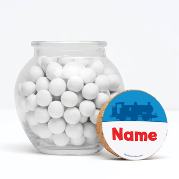 """Blue Tank Engine Personalized 3"""" Glass Sphere Jars (Set of 12)"""