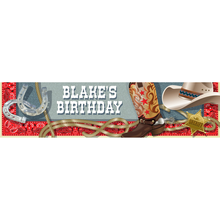 View larger image of Blue Western Personalized Banner (Each)
