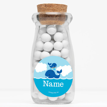 "Blue Whale Personalized 4"" Glass Milk Jars (Set of 12)"