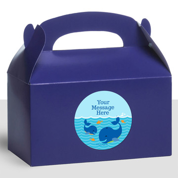 Blue Whale Personalized Treat Favor Boxes (12 Count)