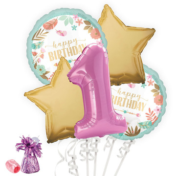 Boho 1st Birthday Girl Balloon Bouquet Kit