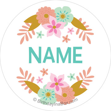 Boho Birthday Girl Personalized Mini Stickers (Sheet of 24)