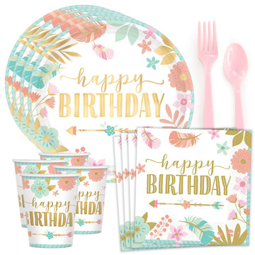 Boho Birthday Girl Standard Tableware Kit (Serves 8)