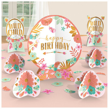 Boho Birthday Girl Table Decoration Kit