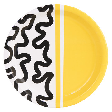 Bold Geometric Yellow Dinner Plate (8)