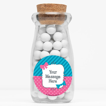 """Bow or Bowtie Gender Reveal Personalized 4"""" Glass Milk Jars (Set of 12)"""