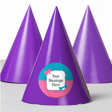 Bow or Bowtie Gender Reveal Personalized Party Hats (8 Count)