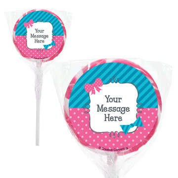 "Bow or Bowtie Gender Reveal Personalized 2"" Lollipops (20 Pack)"