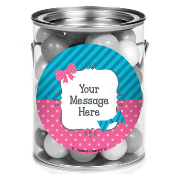 Bow or Bowtie Gender Reveal Personalized Mini Paint Cans (12 Count)