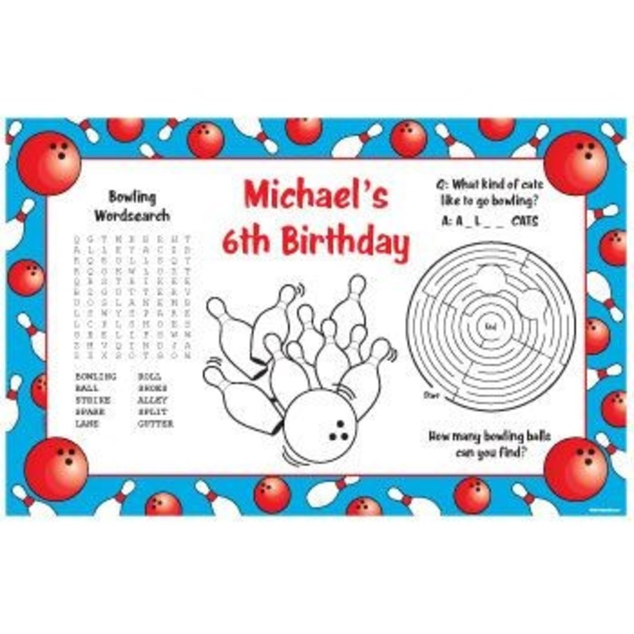 View larger image of Bowling Personalized Activity Mats (8-pack)