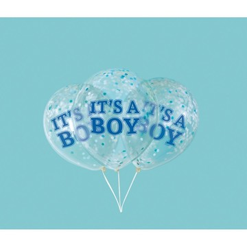 "Boy Clear Latex Balloons with Blue Confetti 12"", 6ct - Pre-Filled"