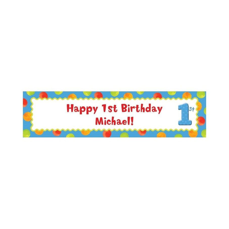 View larger image of Boys' Polka Dot 1st Birthday Personalize Banner (Each)