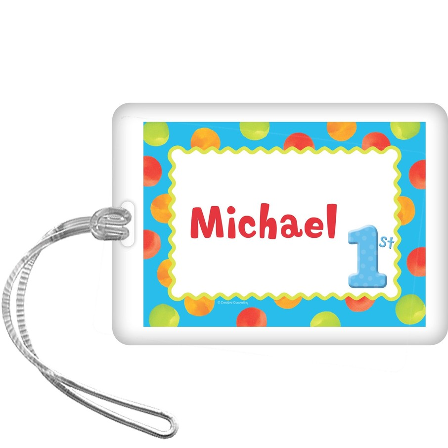 View larger image of Boys' Polka Dot 1st Birthday Personalized Bag Tag (each)