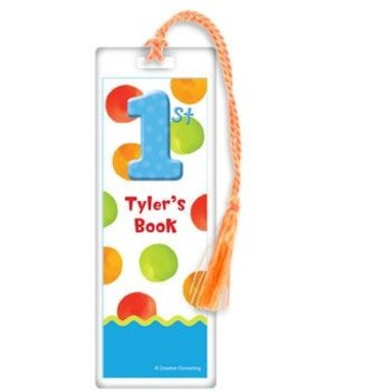 Boys' Polka Dot 1st Birthday Personalized Bookmark (each)