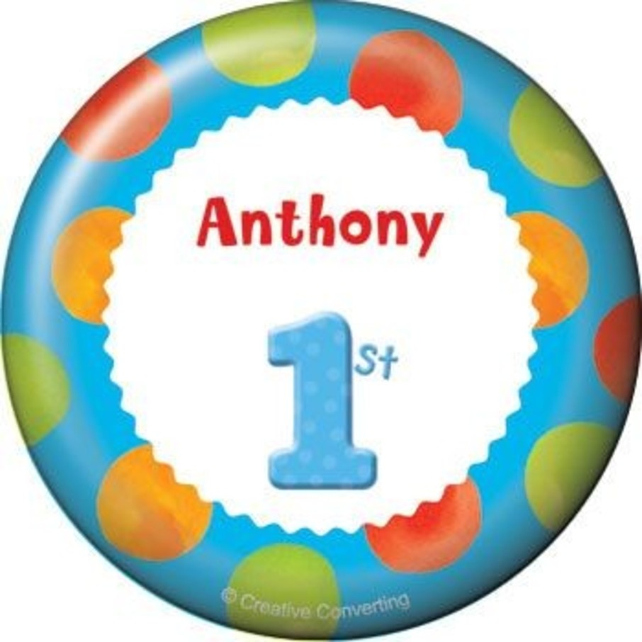 View larger image of Boys' Polka Dot 1st Birthday Personalized Button (each)