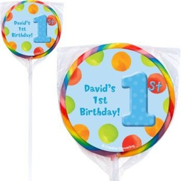 Boys' Polka Dot 1st Birthday Personalized Lollipops (pack of 12)