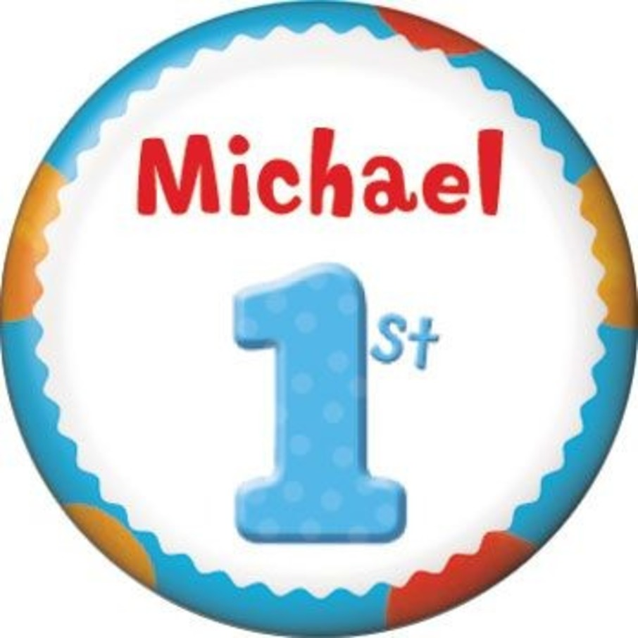 View larger image of Boys' Polka Dot 1st Birthday Personalized Mini Button (each)