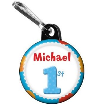 Boys' Polka Dot 1st Birthday Personalized Mini Zipper Pull (each)