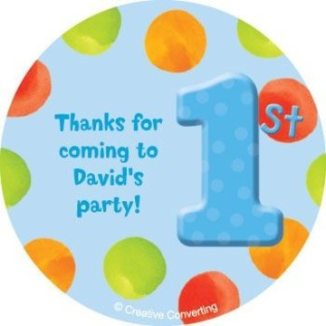 Boys' Polka Dot 1st Birthday Personalized Stickers (sheet of 12)