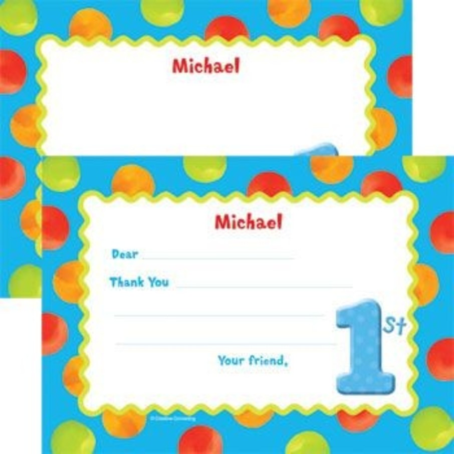 View larger image of Boys' Polka Dot 1st Birthday Personalized Thank You Note (each)