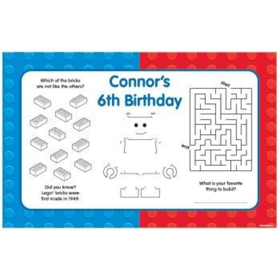 View larger image of Brick City Personalized Activity Mats (8-pack)