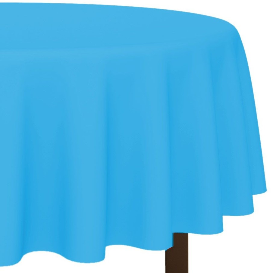 "View larger image of Bright Blue 84"" Round Table Cover (Each)"
