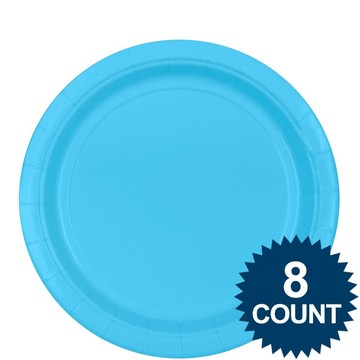 "Bright Blue 9"" Paper Plate, 8ct."