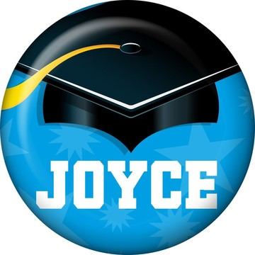 Bright Blue Grad Personalized Mini Button (Each)