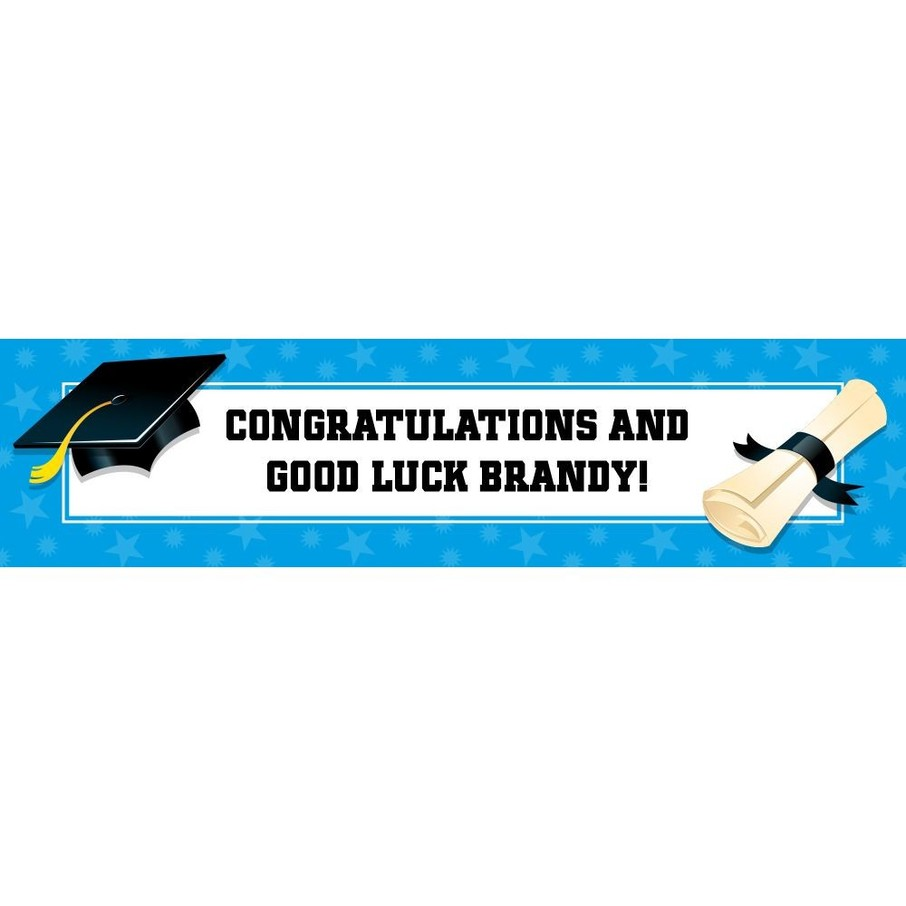 View larger image of Bright Blue Graduation Personalized Banner (Each)