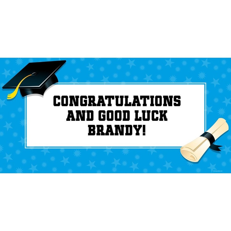 "View larger image of Bright Blue Graduation Personalized Giant Banner 60x30"" (Each)"