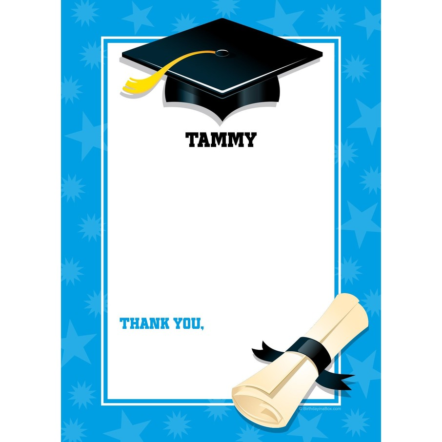 View larger image of Bright Blue Graduation Personalized Thank You (Each)
