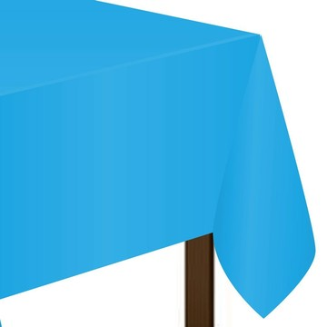 "Bright Blue Plastic Tablecover, 54""-108"""