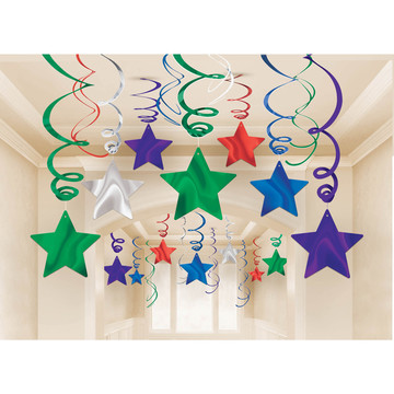 Bright Rainbow Foil Star Hanging Decorations (30 Count)