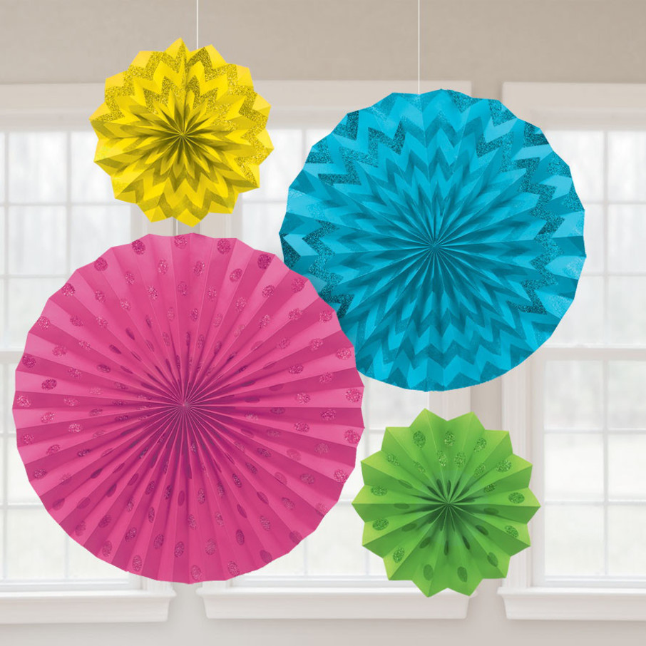 View larger image of Bright Rainbow Glitter Paper Fan Decorations (4 Pack)