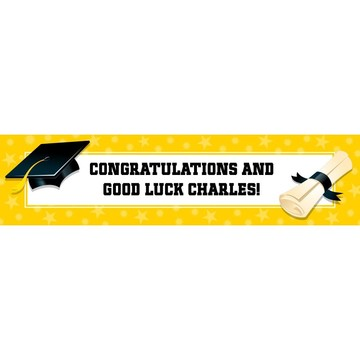 Bright Yellow Graduation Personalized Banner (Each)