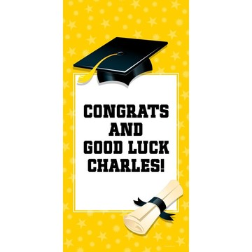 "Bright Yellow Graduation Personalized Giant Banner 30x60"" (Each)"