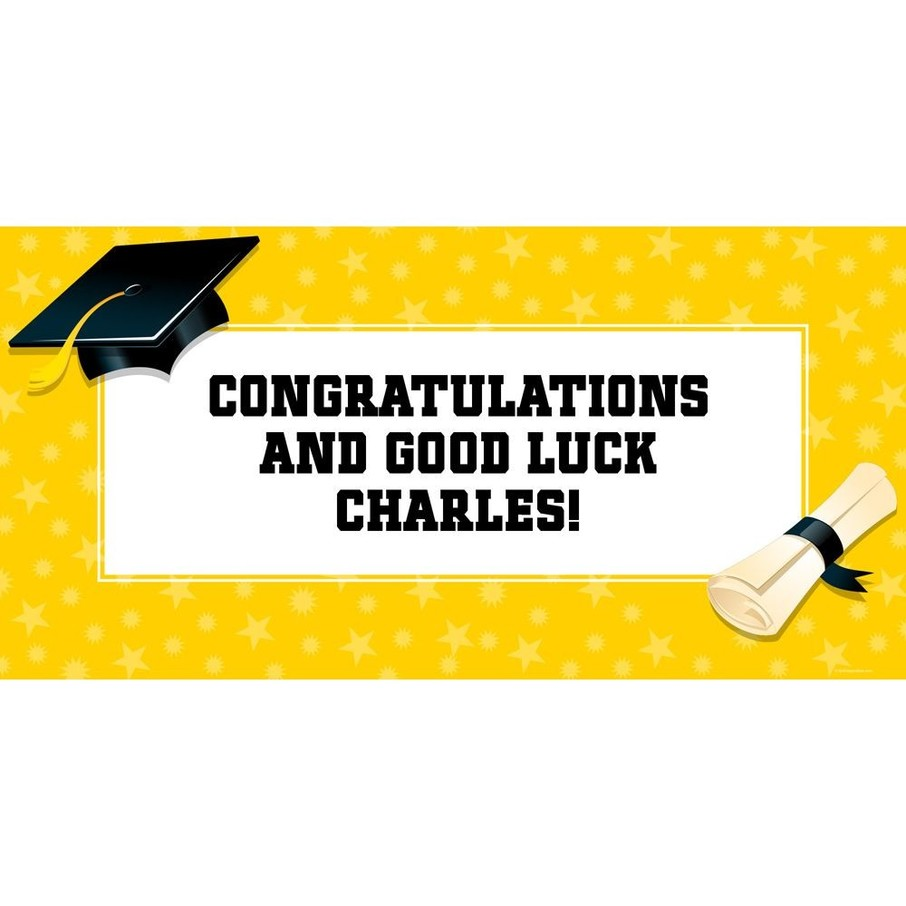 "View larger image of Bright Yellow Graduation Personalized Giant Banner 60x30"" (Each)"