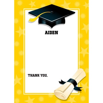 Bright Yellow Graduation Personalized Thank You (Each)