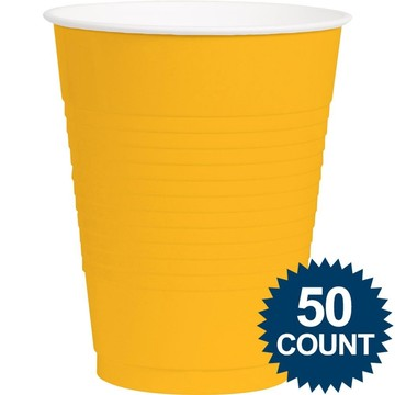 Bright Yellow Plastic 16oz. Cup (50 Pack)