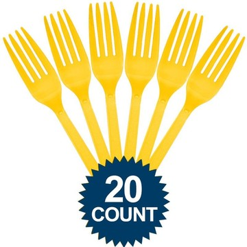 Bright Yellow Plastic Forks