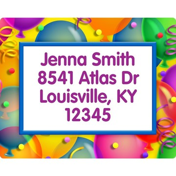 Brilliant Balloons Address Labels (Sheet Of 15)