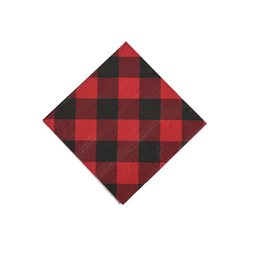 Buffalo Plaid Beverage Napkins (16)