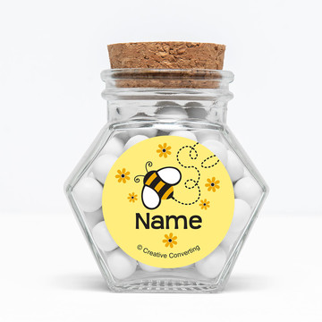 "Bumble Bee Personalized 3"" Glass Hexagon Jars (Set of 12)"