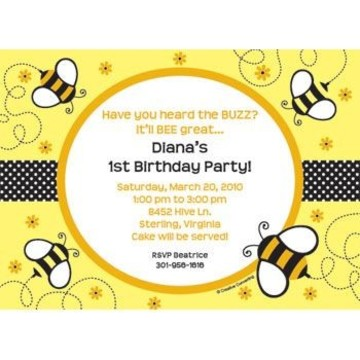 Bumble Bee Personalized Invitation (each)